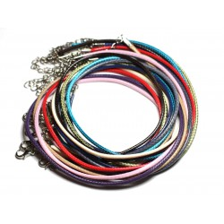 10pc - Colliers Tours de cou 45cm Coton Ciré 2mm Multicolore - 4558550080929