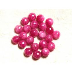 10pc - Perles de Pierre - Jade Rose Fuchsia Boules Facettées 10mm 4558550008671