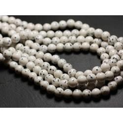 10pc - Perles de Pierre - Jade Boules 8mm Blanc Pois Noir - 4558550039828