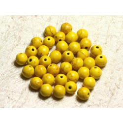 20pc - Perles Turquoise Synthèse Boules 8mm Jaune 4558550028624