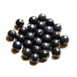 10pc - Perles de Pierre - Jade Noire Boules Facettées 10mm 4558550009142