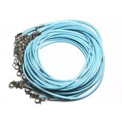 10pc - Colliers Tours de cou 45cm Coton Ciré 2mm Bleu Turquoise - 4558550000521