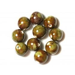 10pc - Grosses Perles Céramique Porcelaine Boules 20mm Marron Vert 4558550004444
