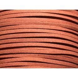 5 mètres - Cordon Lanière Suédine 3x1.5mm Rouge Brique Terre de Sienne 4558550004734