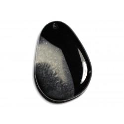 1pc - Pendentif en Pierre - Agate et Quartz Noir et Blanc Goutte 58x40mm n°12 - 4558550040084