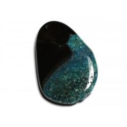 1pc - Pendentif en Pierre - Agate et Quartz Goutte 62x42mm Noir et Turquoise n°11 - 4558550040046