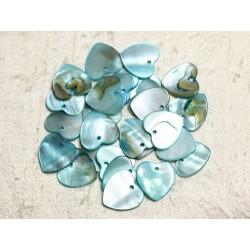 10pc - Perles Breloques Pendentifs Nacre Coeurs 18mm Bleu Turquoise - 4558550039927