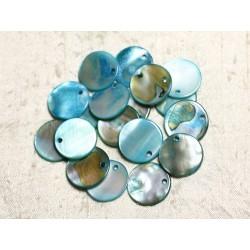 10pc - Perles Breloques Pendentifs Nacre Ronds 20mm Bleu Turquoise - 4558550039897