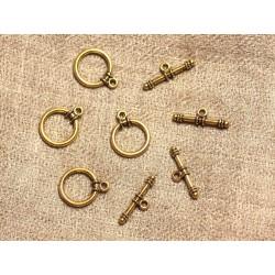 10pc - Fermoirs Toogle T Métal Doré Qualité Rond 13mm 4558550018700