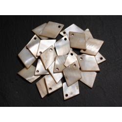 10pc - Breloques Pendentifs Nacre - Losanges 21mm Beige Ivoire - 4558550004895