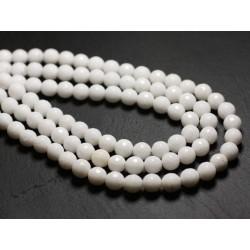 20pc - Perles de Pierre - Jade Boules Facettées 6mm Blanc Opaque - 4558550039712