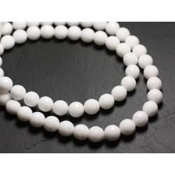 10pc - Perles de Pierre - Jade Boules Facettées 10mm Blanc Opaque - 4558550039736