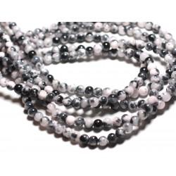 20pc - Perles de Pierre - Jade Boules 6mm Blanc, Noir, Rose clair - 4558550039668
