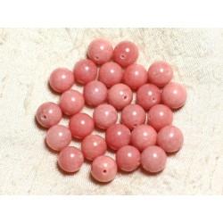 10pc - Perles de Pierre - Jade Boules 10mm Rose Pêche Corail - 4558550002419