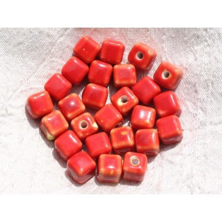 10pc - Perles Céramique Cubes 10mm Perçage 3mm Rouge 4558550009432