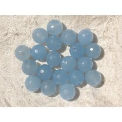 10pc - Perles de Pierre - Jade Boules Facettées 10mm Bleu Ciel - 4558550006356