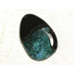 1pc - Pendentif en Pierre - Agate et Quartz Goutte 58x38mm Noir et Turquoise n°9 - 4558550039279