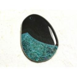 1pc - Pendentif en Pierre - Agate et Quartz Goutte 57x42mm Noir et Turquoise n°7 - 4558550039255
