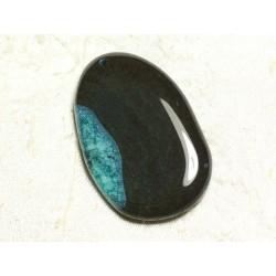 1pc - Pendentif en Pierre - Agate et Quartz Goutte 68x38mm Noir et Turquoise n°6 - 4558550039248