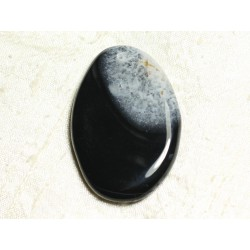 1pc - Pendentif en Pierre - Agate et Quartz Noir et Blanc Goutte 62x42mm n°5 - 4558550039132