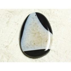 1pc - Pendentif en Pierre - Agate et Quartz Noir et Blanc Goutte 55x39mm n°4 - 4558550039125