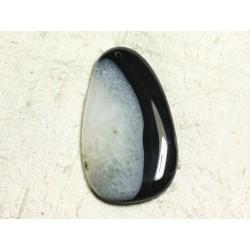 1pc - Pendentif en Pierre - Agate et Quartz Noir et Blanc Goutte 64x37mm n°2 - 4558550039101