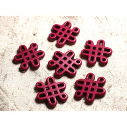 4pc - Perles Turquoise synthèse Noeuds Chinois 28x24mm Rose Fuchsia 4558550001153