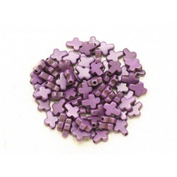 20pc - Perles Turquoise synthèse Croix 10x8mm Violet foncé 4558550000163
