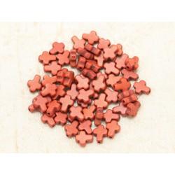 20pc - Perles Turquoise synthèse Croix 10x8mm Marron Brique 4558550000170