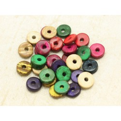 20pc - Perles Donuts Bois de Coco Rondelles 12mm Multicolores 4558550000354