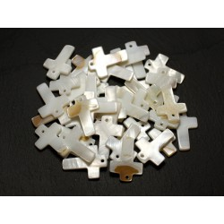 10pc - Breloques Pendentifs Nacre Blanche Croix 22mm avec imperfections 4558550000385