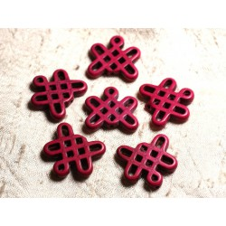 8pc - Perles Turquoise synthèse Noeuds Chinois 24x23mm Rose Fuchsia 4558550000460