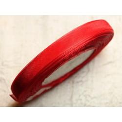 1pc - Bobine 45 mètres - Ruban Tissu Organza Rouge 10mm 4558550007445
