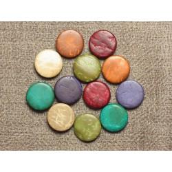 20pc - Perles Bois de Coco Palets 10-11mm Multicolores 4558550001207