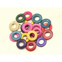 20pc - Perles Bois de Coco Donuts Cercles 20mm Multicolores 4558550001276