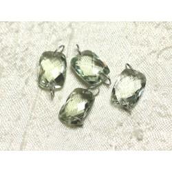 1pc - Perle Composant Pierre et Argent 925 - Prasiolite Rectangle Facetté 14x10mm 4558550001559
