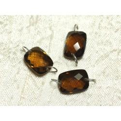 1pc - Perle Composant Pierre et Argent 925 - Topaze Marron Orange Rectangle Facetté 14x10mm 4558550001597
