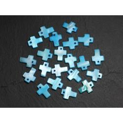 10pc - Perles Breloques Pendentifs Nacre Croix 12mm Bleu Turquoise 4558550002143
