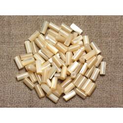 10pc - Perles nacre naturelle irisée - Colonnes Tubes 8x4mm 4558550002204