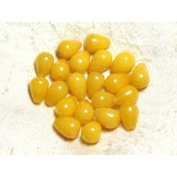 6pc - Perles de Pierre - Jade Gouttes 14x10mm Jaune 4558550002310