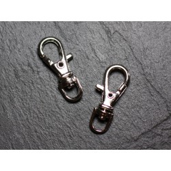 100pc - Mousquetons Porte Clefs Métal Argenté Rhodium 37mm 4558550002563