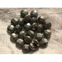 2pc - Perles de Pierre - Pyrite Dorée Palets Facettés 10mm 4558550002594
