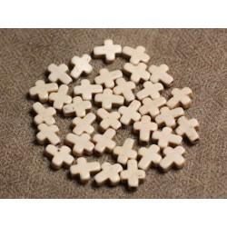 20pc - Perles Turquoise synthèse Croix 10x8mm Blanc crème 4558550002761