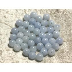 10pc - Perles de Pierre - Jade Bleu clair 8mm 4558550003263