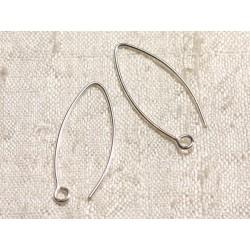10 Paires - Crochets Argent 925 Boucles d'Oreilles 28mm 4558550003522