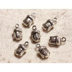 4pc - Breloques Pendentifs Métal Argenté Rhodium Bouddha 14mm 4558550003553