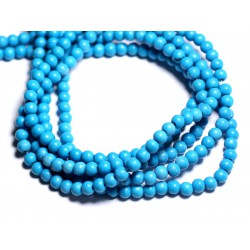 40pc - Perles Turquoise Synthèse Boules 4mm Bleu vert Turquoise 4558550003560