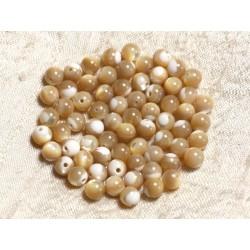 10pc - Perles de Nacre Beige Irisée Boules 6mm 4558550003577