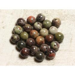 4pc - Perles de Pierre - Opale Verte Boules 10mm 4558550003645