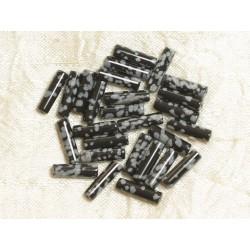 4pc - Perles de Pierre - Obsidienne Flocon Colonnes Tubes 13x4mm - 4558550030702